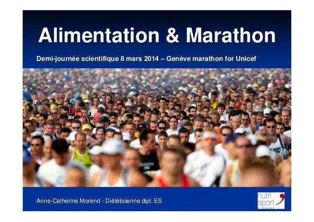 Alimentation & Marathon Anne-Catherine Morend - Diététicienne dipl. ES Demi-journée scientifique 8 mars 2014 – Genève mara...