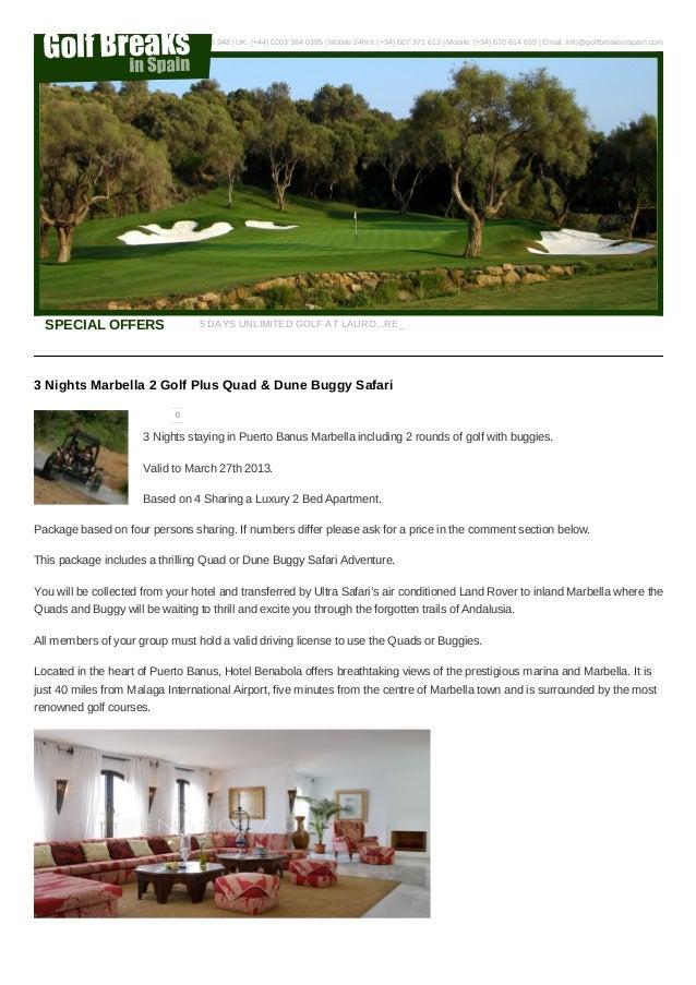 Marbella Golf Deals 2013