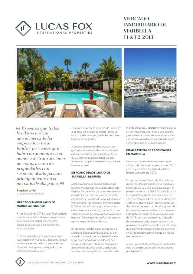Mercado Inmobiliario de Marbella T1 & T2 2013