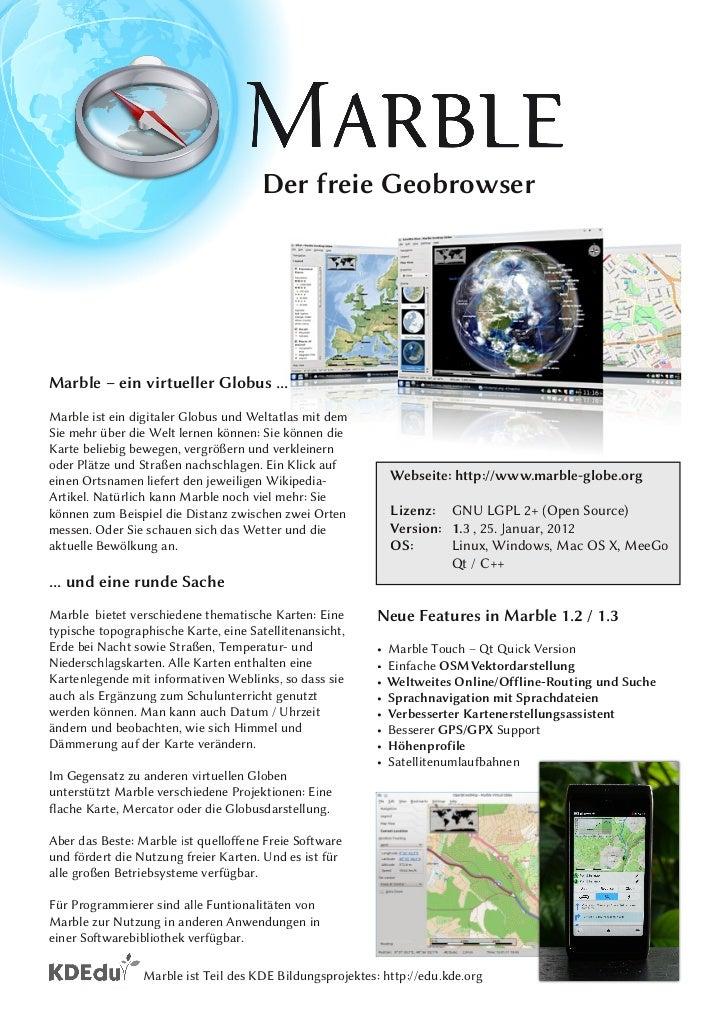 Der freie GeobrowserMarble – ein virtueller Globus ...Marble ist ein digitaler Globus und Weltatlas mit demSie mehr über d...