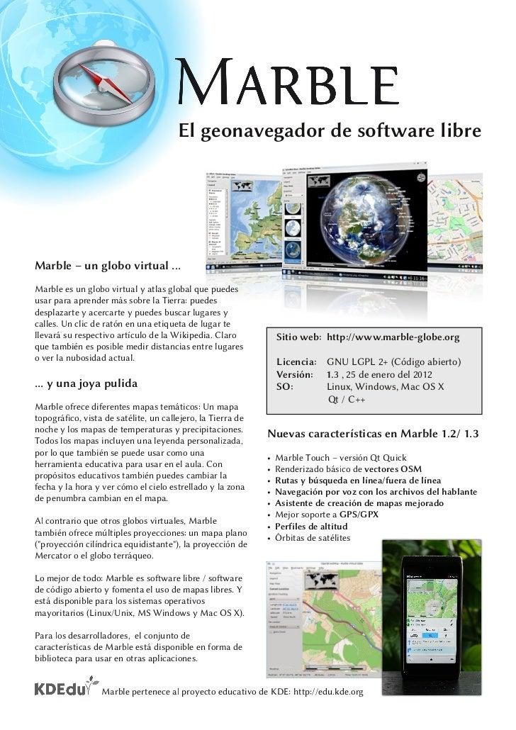 Marble Virtual Globe 1.3 Factsheet (Spanish)
