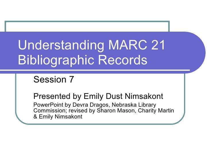 Understanding MARC Session 7 - Winter 2011