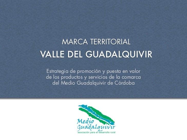 MARCA TERRITORIALVALLE DEL GUADALQUIVIR Estrategia de promoción y puesta en valor de los productos y servicios de la comar...