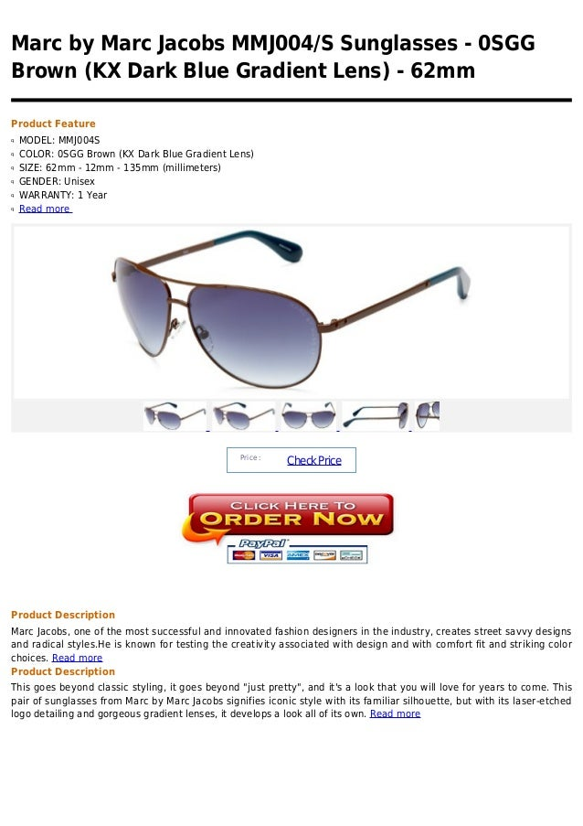 Marc by Marc Jacobs MMJ004/S Sunglasses - 0SGGBrown (KX Dark Blue Gradient Lens) - 62mmProduct Featureq   MODEL: MMJ004Sq ...