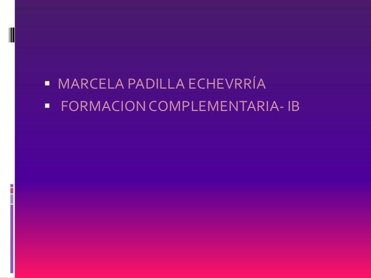 MARCELA PADILLA ECHEVRRÍA<br /> FORMACION COMPLEMENTARIA- IB<br />