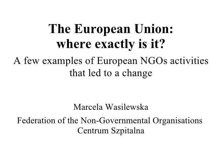 The European Union: where exactly is it? A few examples of European NGOs activities that led to a change Marcela Wasilewsk...