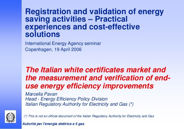 Energy Efficient Renovations : The italian white certificates market and measurement