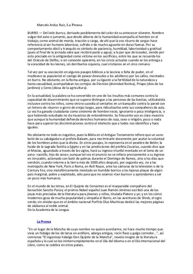 Marcelo Arduz Ruiz, La Prensa BURRO — Del latín burrus, derivado posiblemente del color de su antecesor silvestre. Nombre ...