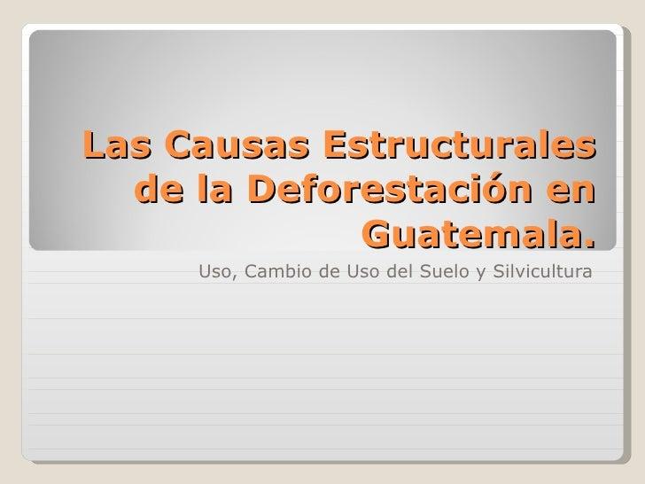 Las Causas Estructurales de la Deforestación en Guatemala. Uso, Cambio de Uso del Suelo y Silvicultura