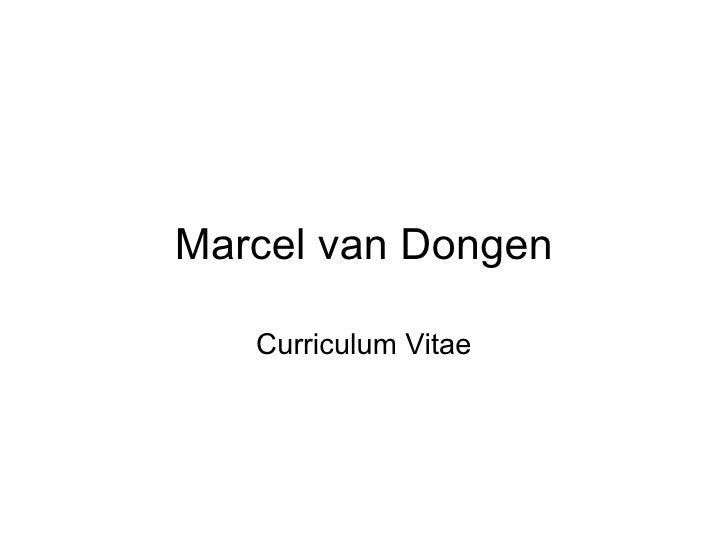 Marcel Van Dongens Resumé