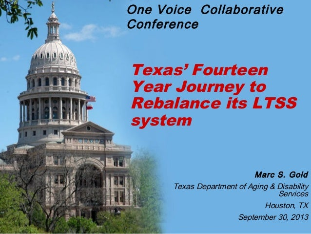 Texas' Fourteen Year Journey to Rebalance its LTSS system Marc S. Gold Texas Department of Aging & Disability Services Hou...
