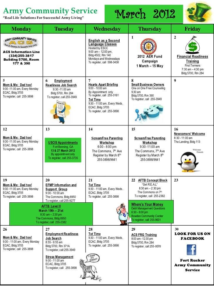ACS March Calendar