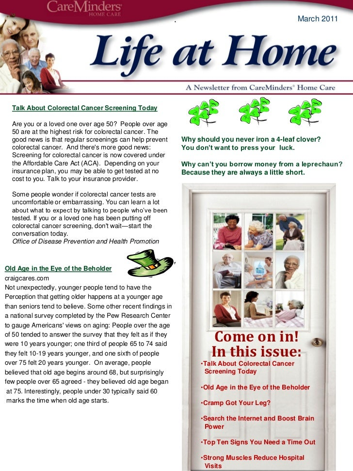 March 2011  Care Minders Newsletter