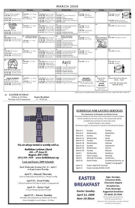 March April 2009 Calendar