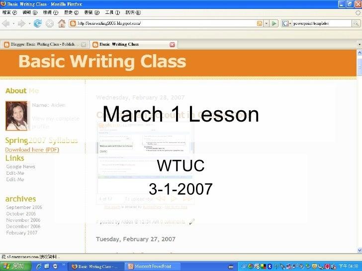March 1 Lesson WTUC 3-1-2007
