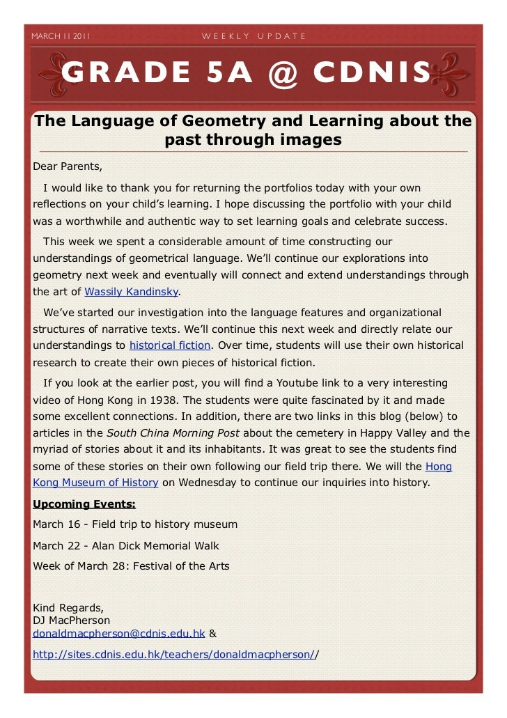 MARCH 11 2011                   W E E K LY   U P D A T E       GRADE 5A @ CDNISThe Language of Geometry and Learning abo...