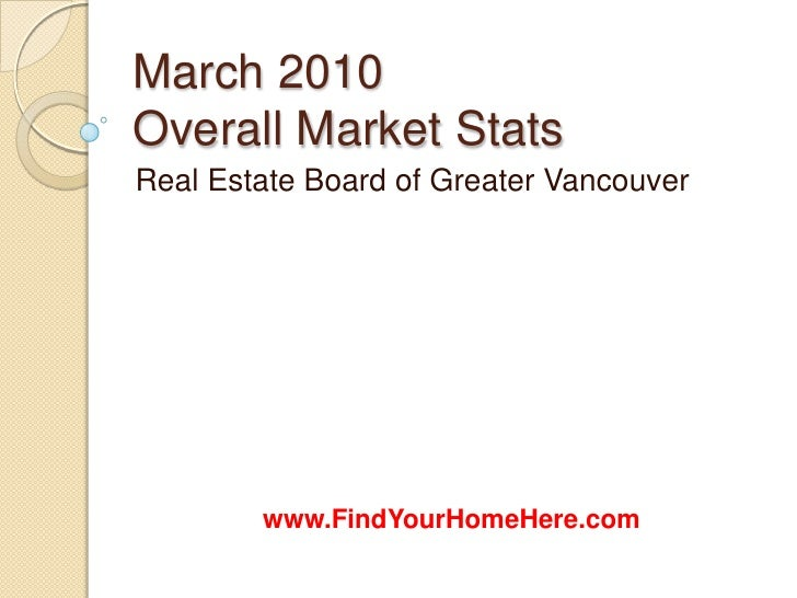 Coquitlam Real Estate March 2010 Market Stats