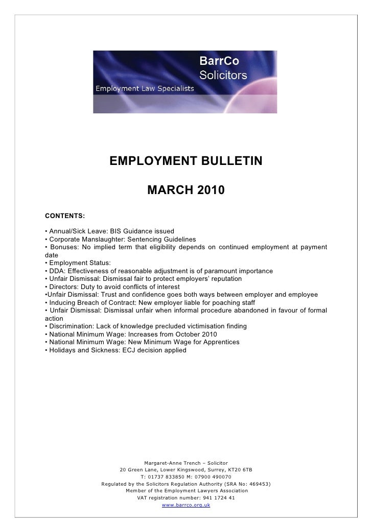EMPLOYMENT BULLETIN                                     MARCH 2010 CONTENTS:  • Annual/Sick Leave: BIS Guidance issued • C...
