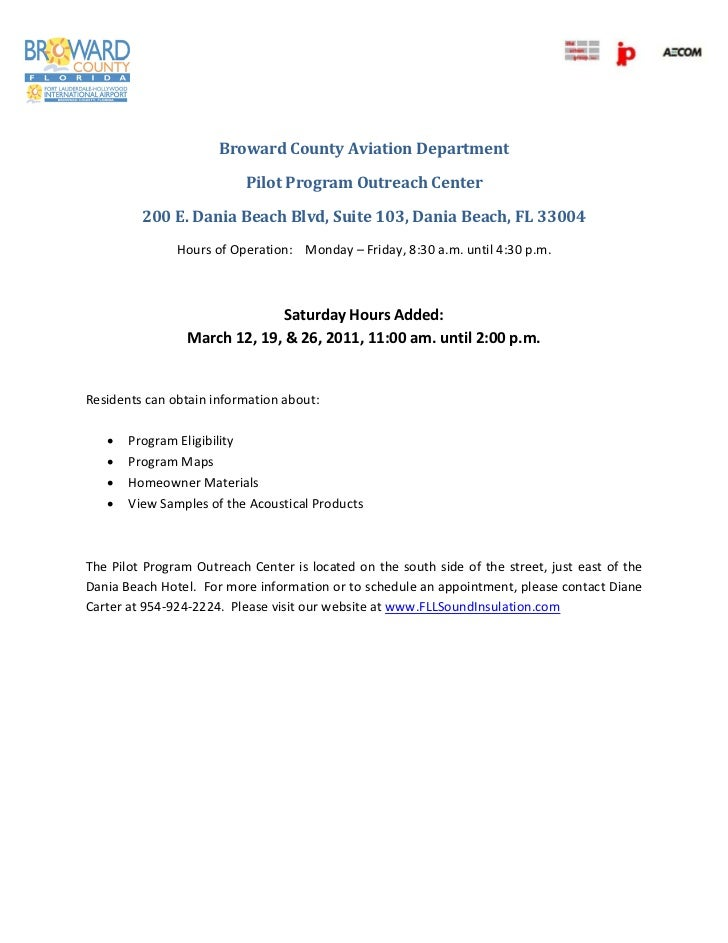 Broward County Aviation Department                            Pilot Program Outreach Center   ...