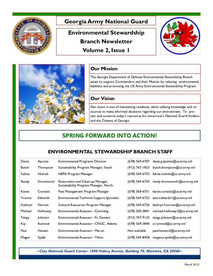 March 2012_Georgia Army National Guard_Environmental Newsletter_v2_issue1