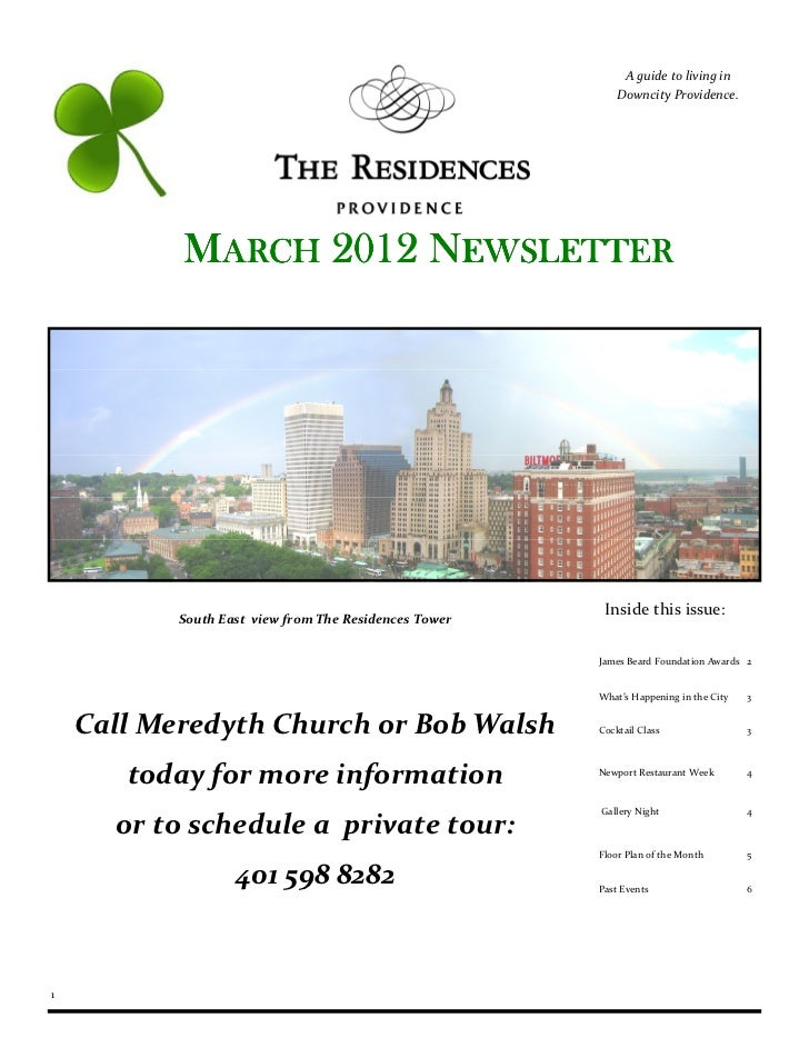 A guide to living in                                                           Downcity Providence.           MARCH 2012 N...
