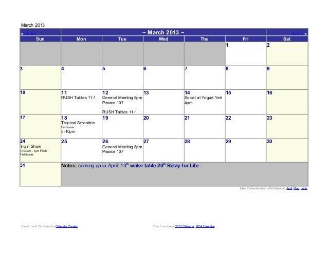 March 2013◄ Feb 2013                                                             ~ March 2013 ~                           ...