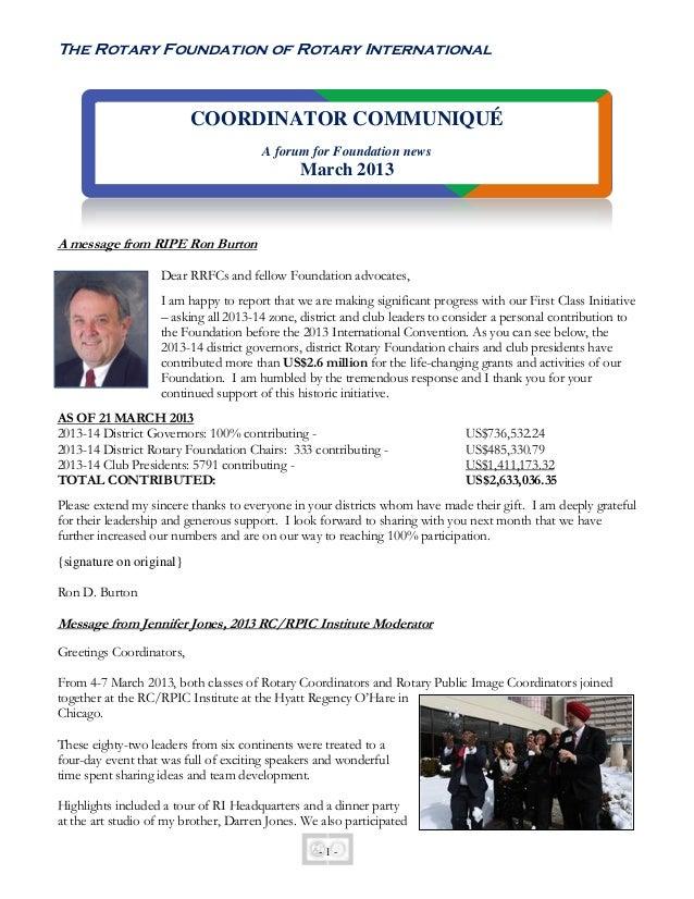 March2013 Rotary International Coordinator Communique