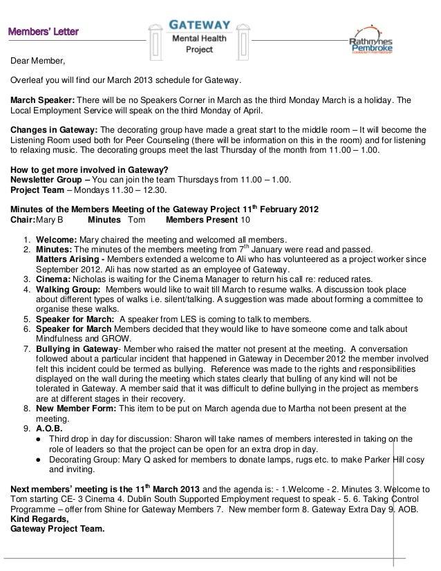 March 2013 member's letter