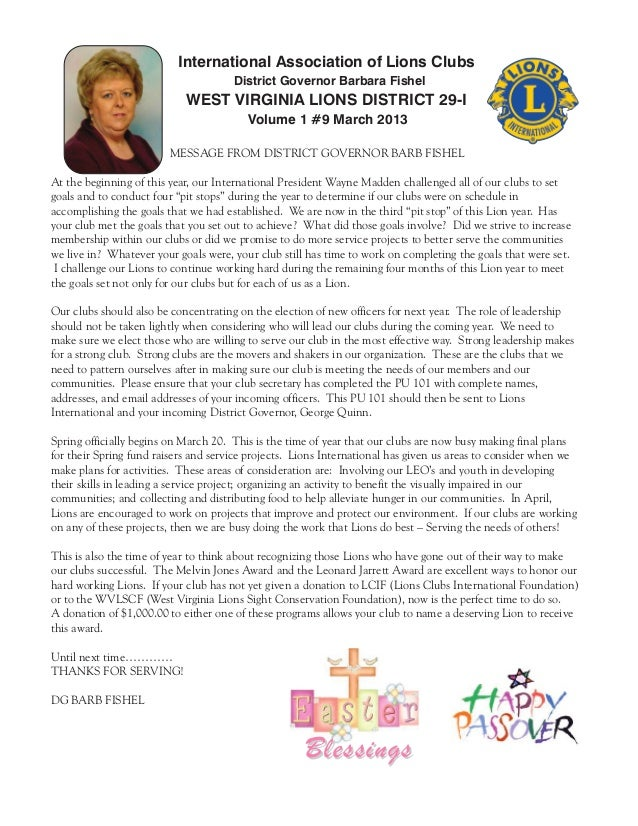 International Association of Lions Clubs                                      District Governor Barbara Fishel            ...