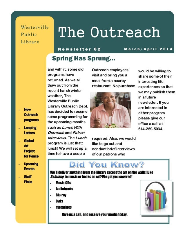 March 2014: Outreach Newsletter