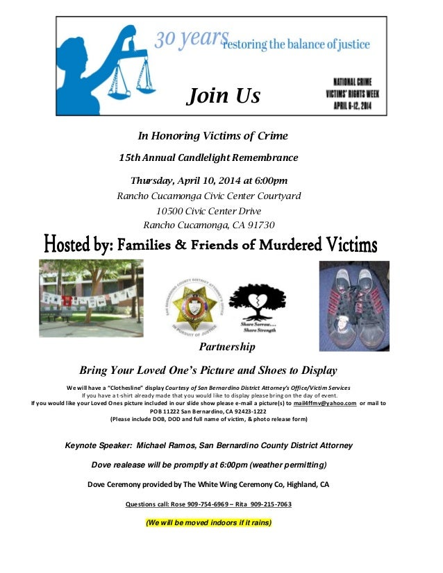 Join Us In Honoring Victims of Crime 15th Annual Candlelight Remembrance Thursday, April 10, 2014 at 6:00pm Rancho Cucamon...