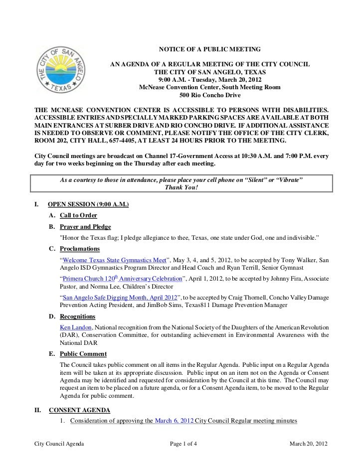 March 20, 2012 City Council Agenda Packet w/Addendum