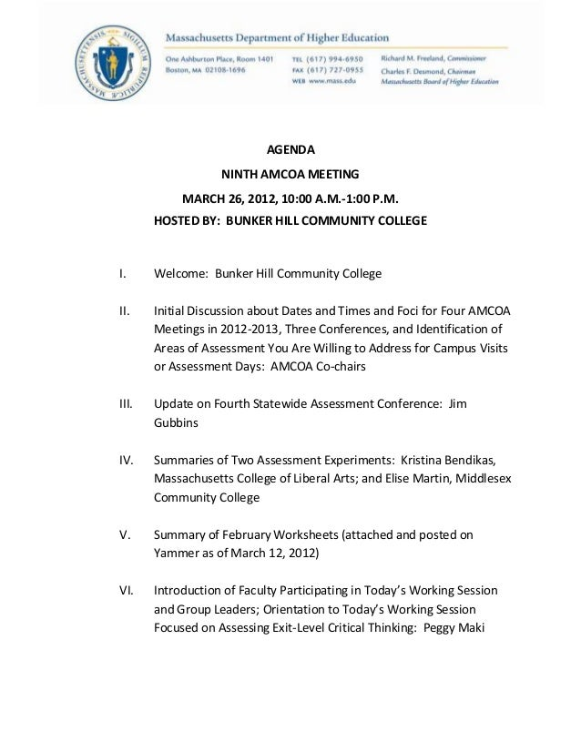 AGENDANINTH AMCOA MEETINGMARCH 26, 2012, 10:00 A.M.-1:00 P.M.HOSTED BY: BUNKER HILL COMMUNITY COLLEGEI. Welcome: Bunker Hi...