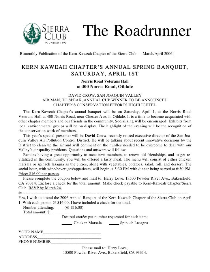 The RoadrunnerBimonthly Publication of the Kern-Kaweah Chapter of the Sierra Club — March/April 2006 KERN KAWEAH CHAPTER'S...