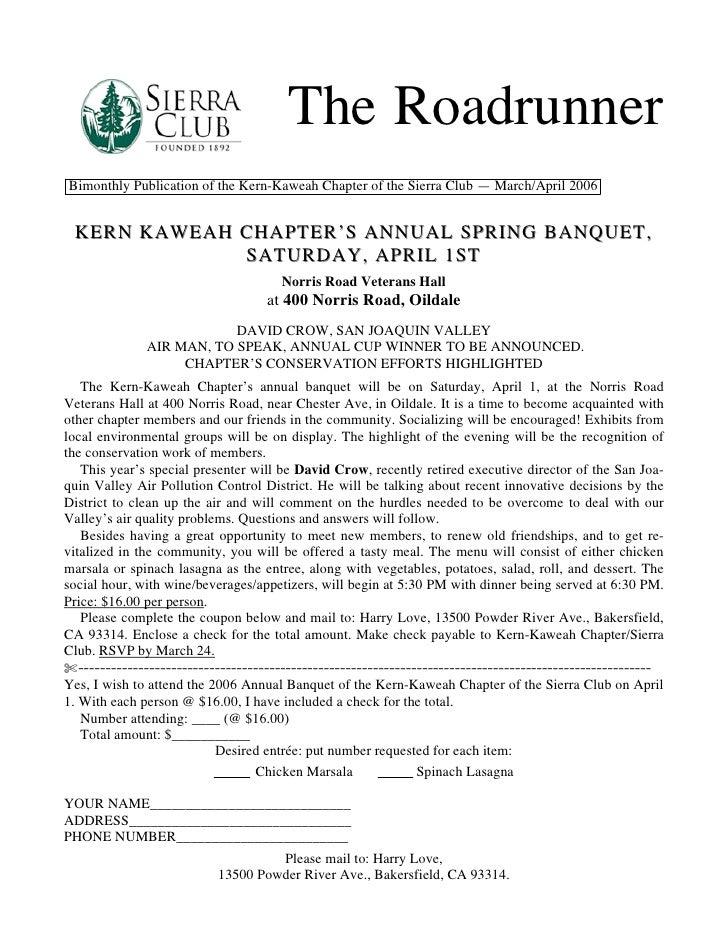 March-April 2006 Roadrunner Newsletter, Kern-Kaweah Sierrra Club