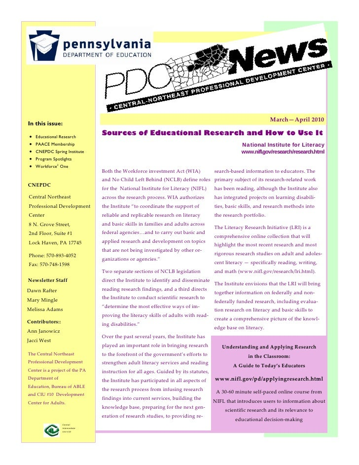 March—April2010 In this issue: In this issue:       Educational Research                    Sources of Educational Res...