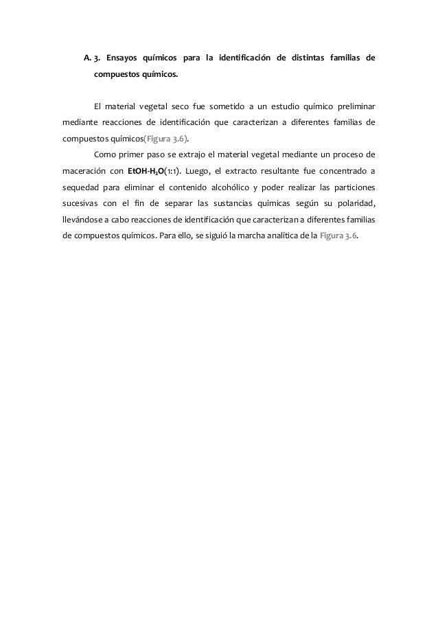 A. 3. Ensayos químicos para la identificación de distintas familias de compuestos químicos. El material vegetal seco fue s...