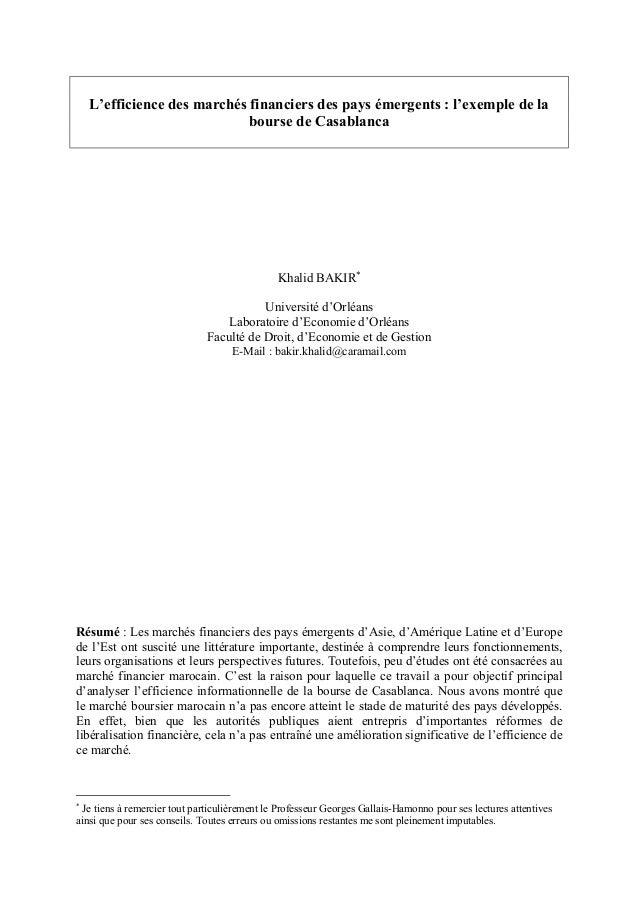 L'efficience des marchés financiers des pays émergents : l'exemple de la                             bourse de Casablanca ...