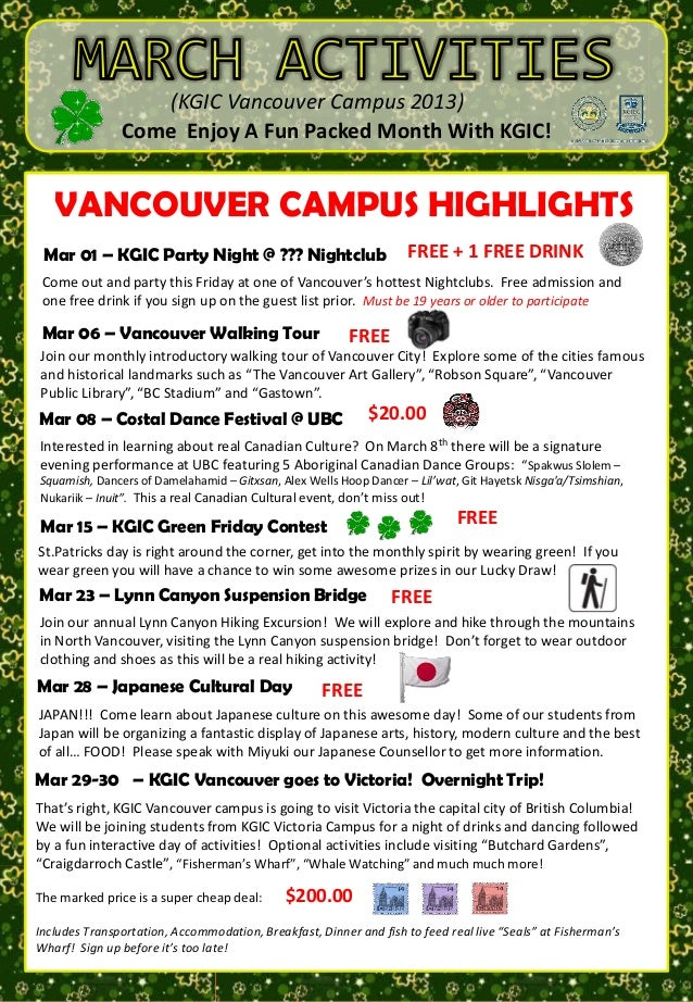 (KGIC Vancouver Campus 2013)                  Come Enjoy A Fun Packed Month With KGIC!                                  TU...