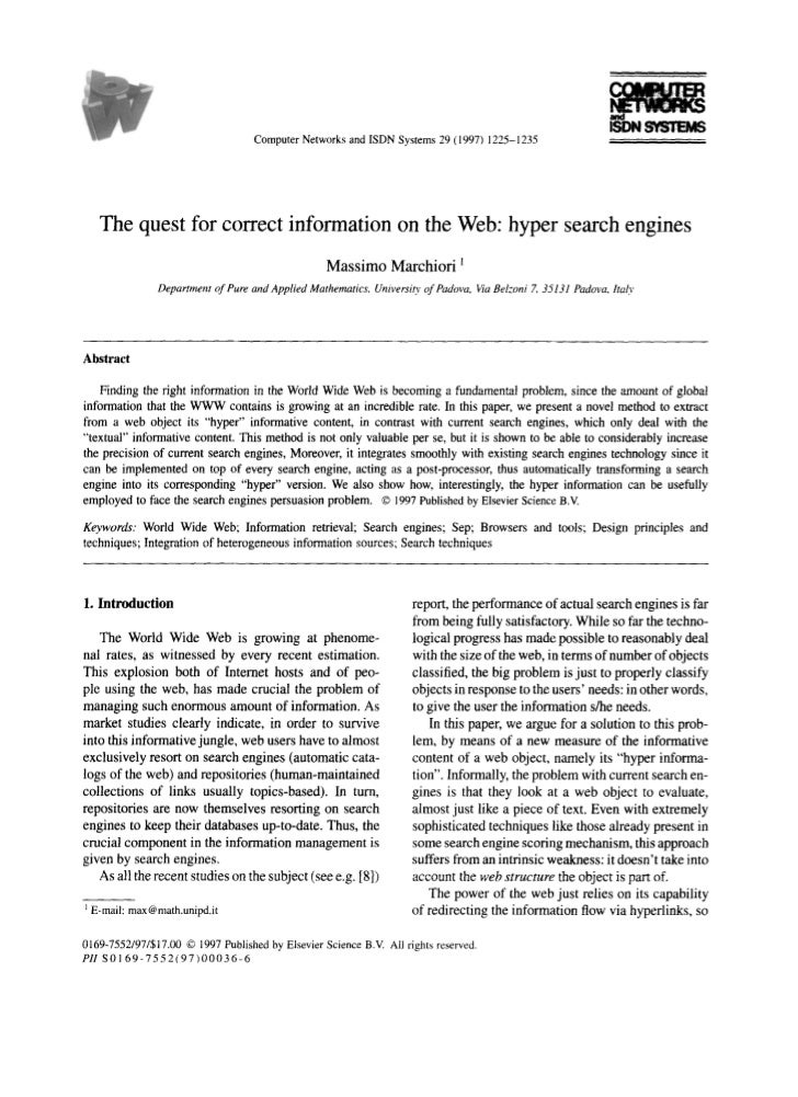 Computer Networks and ISDN Systems 29 (I 997) 122% 1235      The quest for correct information on the Web: hyper search en...