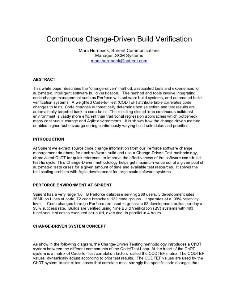 Continuous Change-Driven Build Verification                         Marc Hornbeek, Spirent Communications                 ...