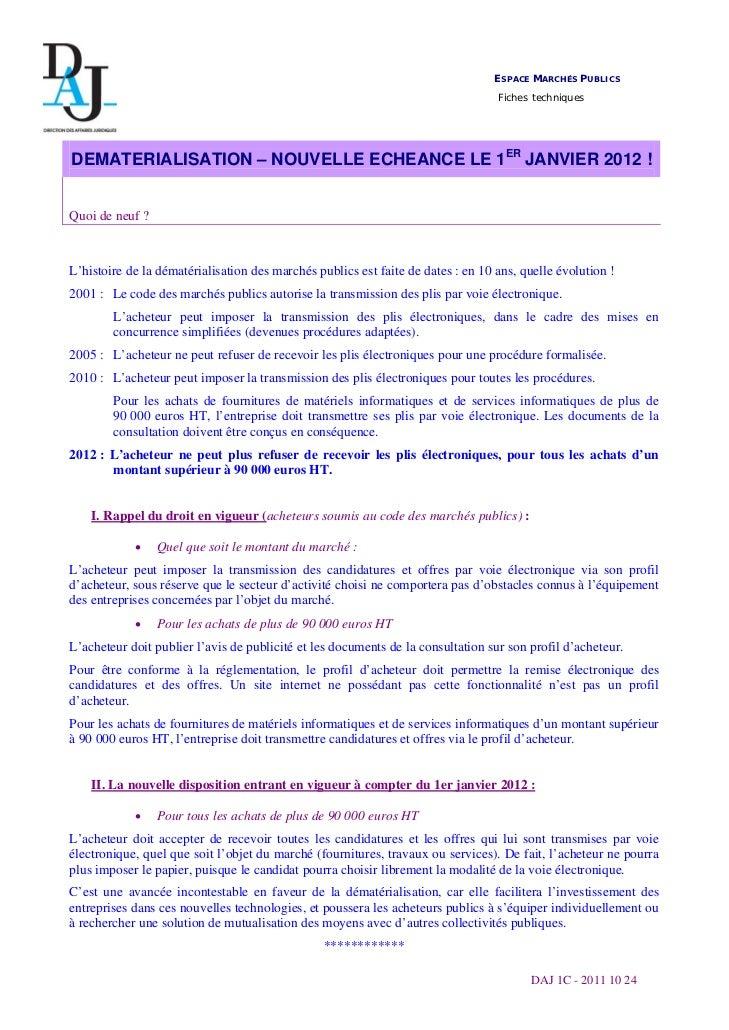 Marchés publics dématérialisation echeance 1er janvier 2012_daj