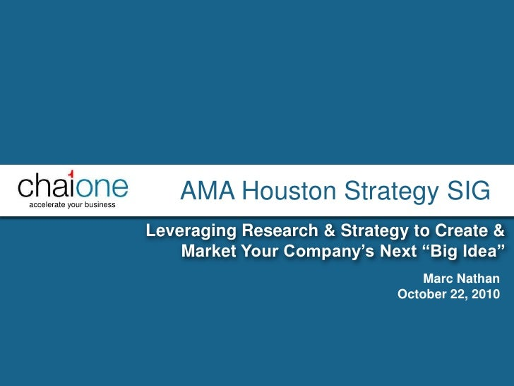 """AMA Houston Strategy SIG<br />Leveraging Research & Strategy to Create & Market Your Company's Next """"Big Idea""""<br />Marc N..."""