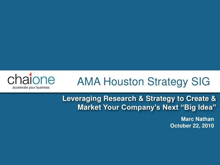 AMA Houston Strategy SIG - Innovation