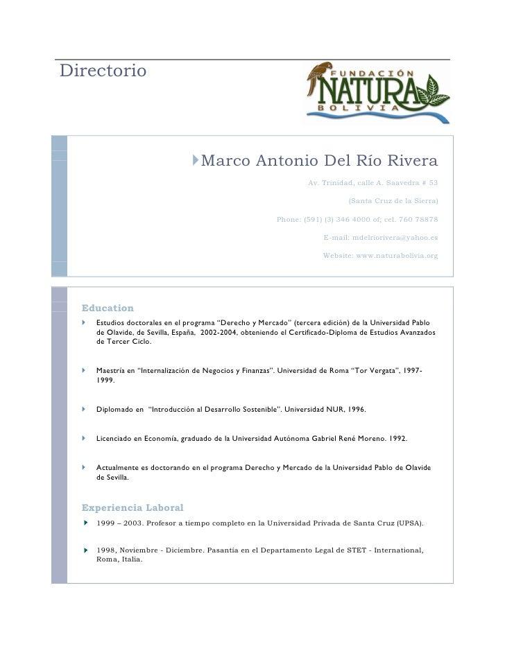 Directorio                                     Marco Antonio Del Río Rivera                                              ...