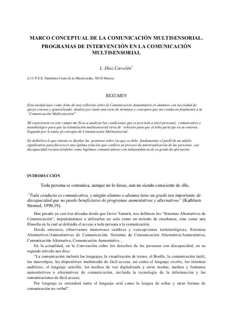 MARCO CONCEPTUAL DE LA COMUNICACIÓN MULTISENSORIAL.          PROGRAMAS DE INTERVENCIÓN EN LA COMUNICACIÓN                 ...