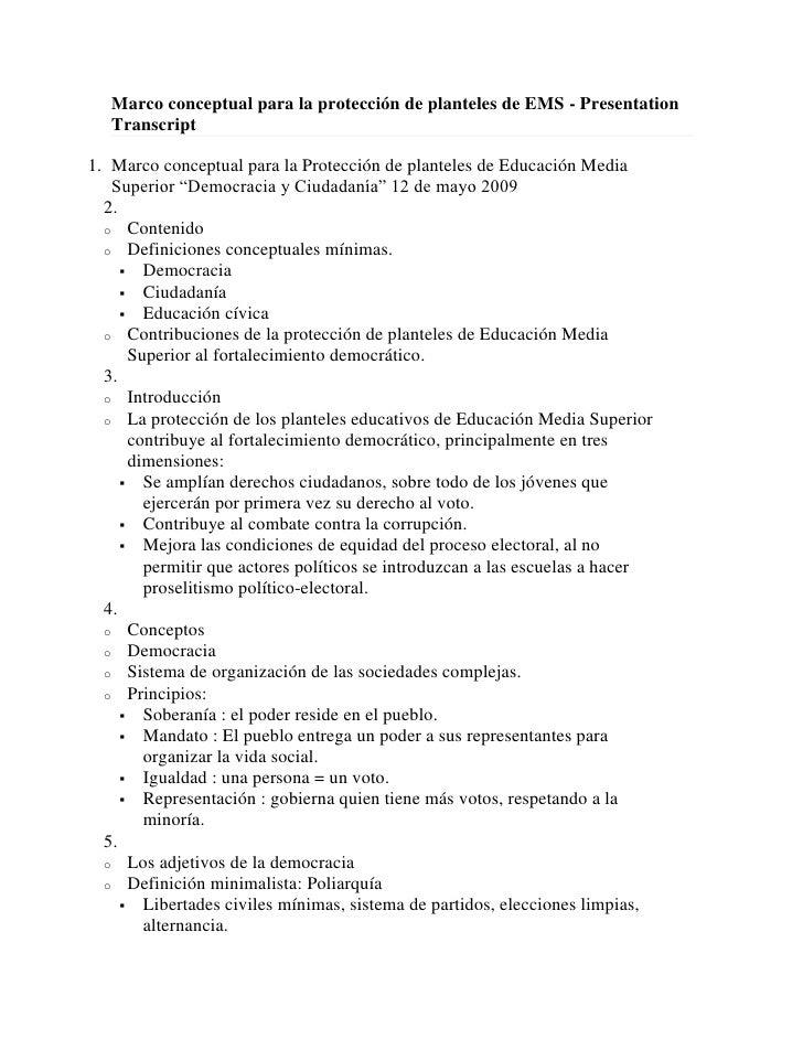 Marco conceptual para la protección de planteles de EMS - Presentation    Transcript  1. Marco conceptual para la Protecci...