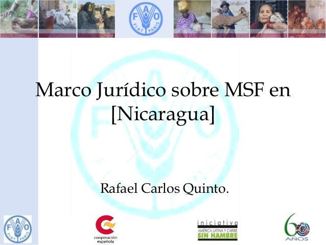 Marco Jurídico sobre MSF en [Nicaragua] Rafael Carlos Quinto.
