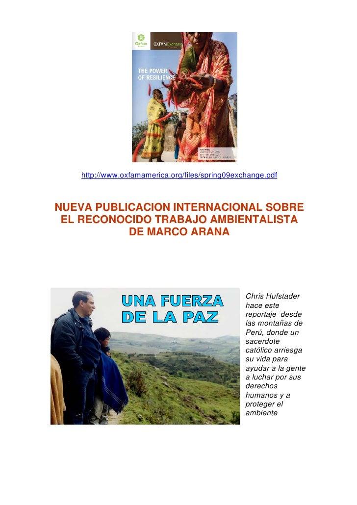 http://www.oxfamamerica.org/files/spring09exchange.pdf    NUEVA PUBLICACION INTERNACIONAL SOBRE  EL RECONOCIDO TRABAJO AMB...