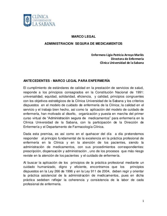 Marco Legal Administración de Medicamentos